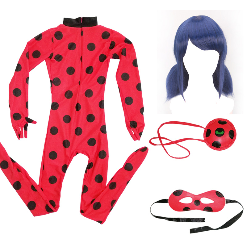 Kids Lady Bug Girls Halloween Costumes Fantasia Adult Lady Bug Costume Cosplay Christmas Birthday Party LadyBug Bag Eye Mask Wig