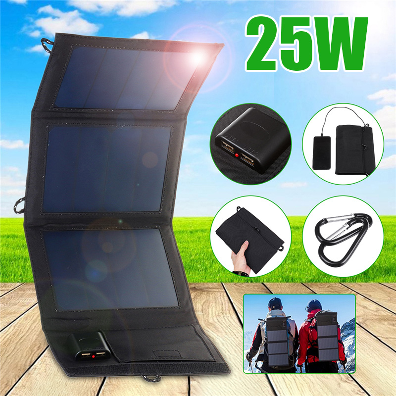 25W Waterproof Sun Power Folding Solar Cells Charger 5V 2A Dual USB Output Devices Portable Solar Panels For Smartphones