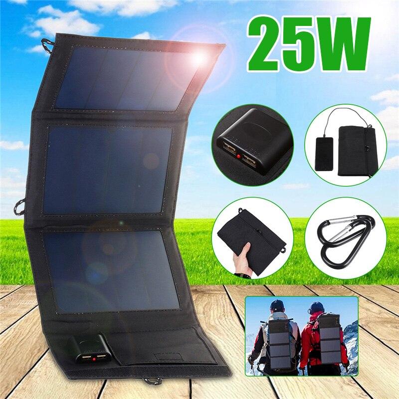 25W wodoodporna energia słońca składane ogniwa słoneczne ładowarka 5V 2A podwójne urządzenia wyjściowe USB przenośne panele słoneczne do smartfonów w Ogniwa słoneczne od Elektronika użytkowa na title=