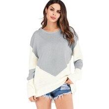 Las mujeres suéter de punto de mujer Jersey 2018 Otoño e Invierno suéter  grueso Color contraste f87f50875230