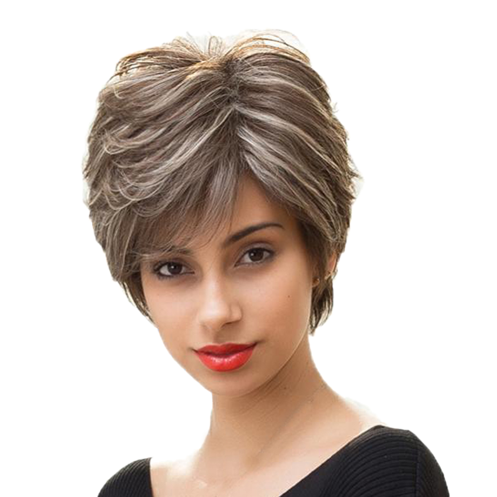 Women Short Straight Wig Human Hair & Bangs Fluffy Layered Cosplay Full Wigs Heat Resistant Female Hair