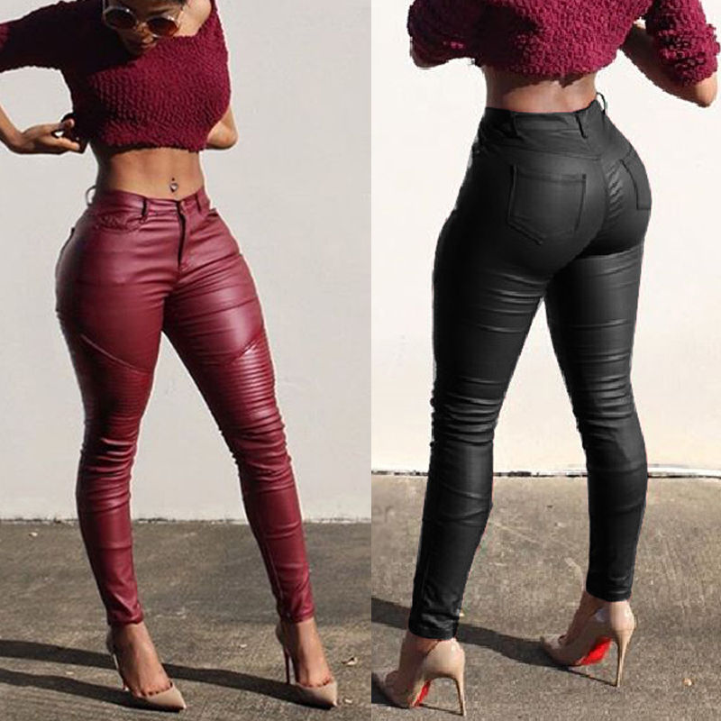 Sexy Ladies Slim Leather Pants Skinny High Waist Leggings Stretchy Pencil Pants Trousers