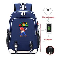 Super Mario 21-25 Series USB Charging Backpack Travel Laptop Women Schoolbag Sac A Dos Mochila Mujer Black Backbag Free Gifts(China)