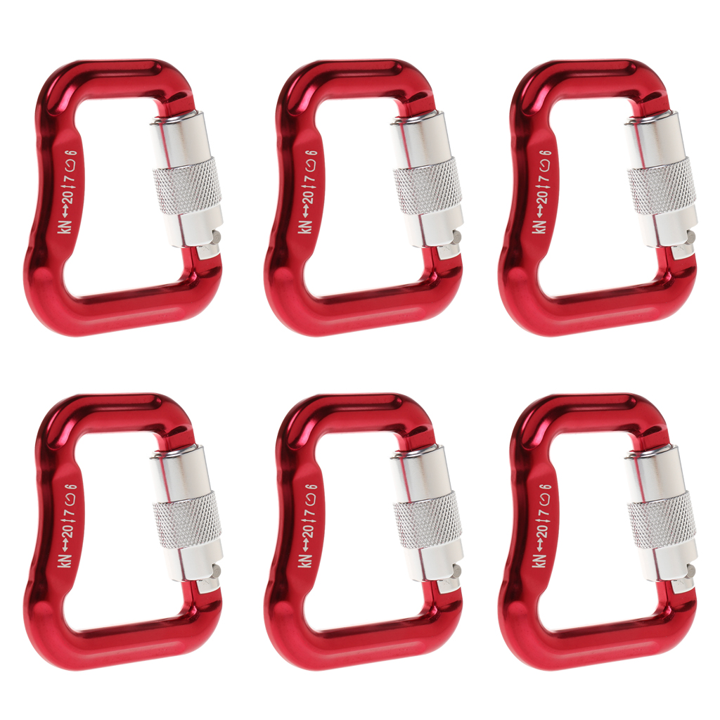 Outdoor 6 Pcs 20KN Aluminum Alloy Caribiners for Paragliding/Powered Paragliding Red Camping Buckle Rock Climbing Safety Rescue
