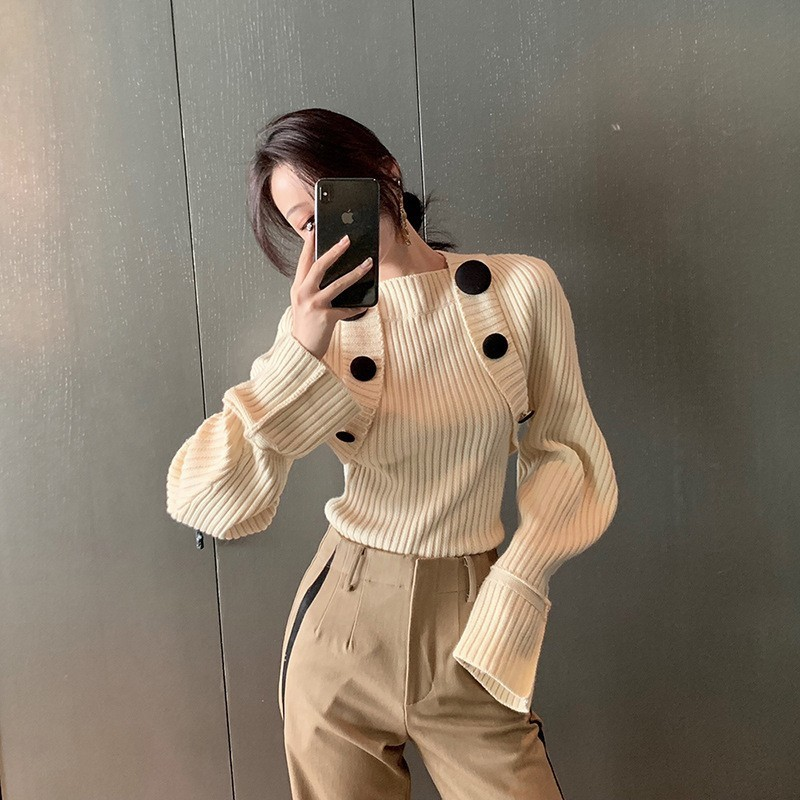 Nouvelle E022 2018 Beige Pleine Bouton Corée Femmes Colid Automne Mode Couleur Tricoté cou Manches Arrivée Chandail Casual De O TfxqACwIf