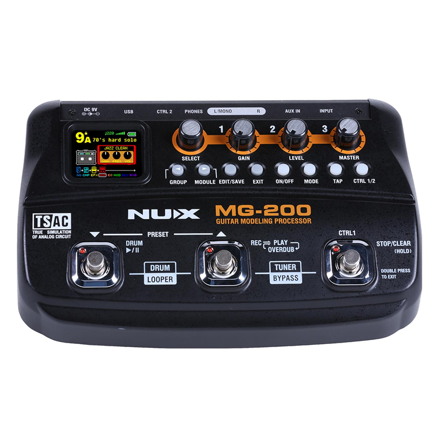 NUX MG-200 Guitar Processor Multi guitar effect pedal 55 Effects 70 Seconds Recording Guitar Looper drum machine (EU Plug)