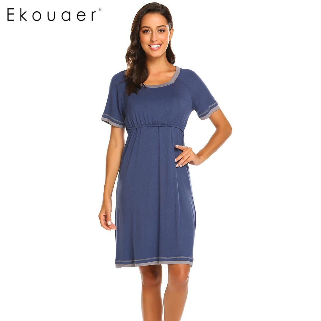 Ekouaer Women   Nightgown     Sleepshirts   Casual O-Neck Short Sleeve Maternity Nursing Breastfeeding Nightdress Female Soft Nightwear