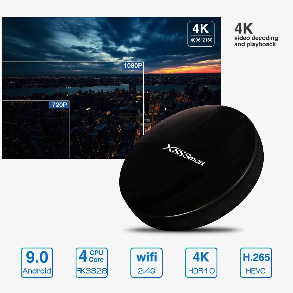 X88 Smart TV BOX Android 9.0 RK33284G DDR4 32GB 2.4G RK3328 Quad Core High Speed 2.4G WIFI 4K 4K VP9 Set Top BoxX88 Smart TV BOX Android 9.0 RK33284G DDR4 32GB 2.4G RK3328 Quad Core High Speed 2.4G WIFI 4K 4K VP9 Set Top Box