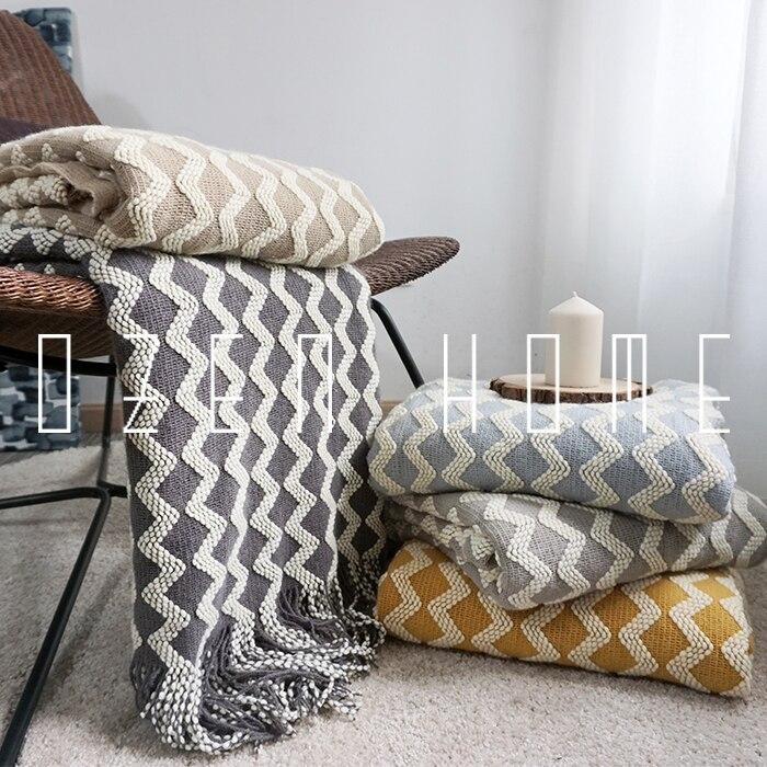 Tricoté chaud pondéré couverture 3d vague laine tapis canapé poupée et serviettes modèle maison bureau couverture pour regarder la télévision 120x230 cm