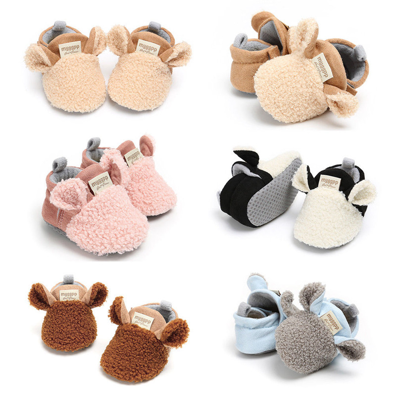 Toddler Newborn Baby Crawling Shoes Girl Winter Warm Mixed Colors Lamb Slippers Sheepskin Patch Prewalker Trainers First Walkers