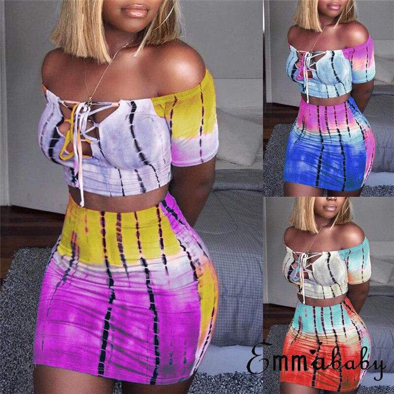 2020 Sexy Women Casual Clubwear Party Crop Top Wrap Dress 2 Piece Bodycon Skirt Set women Rainbow skirt