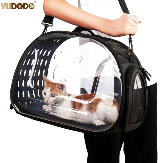 b1a72091cf S/L Transparent Folding Cat Carrier Outdoor Travel Bag For Small Dogs Puppy  Cat Clear Visible Carrying Box