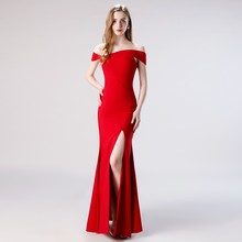 Vivian's Bridal Simple Pleated Tilted Boat Neck Prom Dress Sexy Backless Side Slit Satin Wine Dress Floor-length Party Dress lace pleated backless prom dress