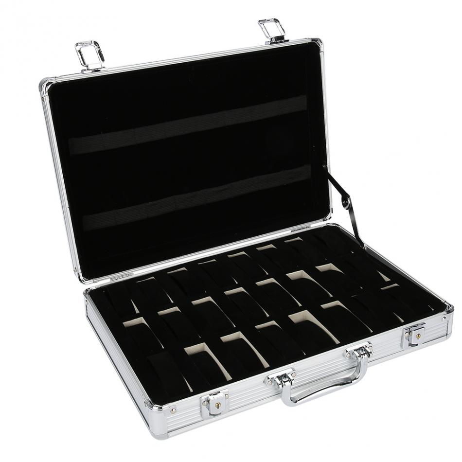 24 Grid Aluminum Suitcase Case Display Storage Box Watch Storage Box Case Watch Bracket Clock Watch Clock Box