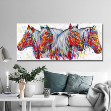 AAHH 2019 New Animal Picture Four Horses Wall Art Posters Horse Canvas Painting For Living room Home Decor No Frame