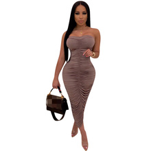 2019 Fashion Women Pleated Summer Dress Off Shoulder Ankle Length Party Bodycon Backless Sexy