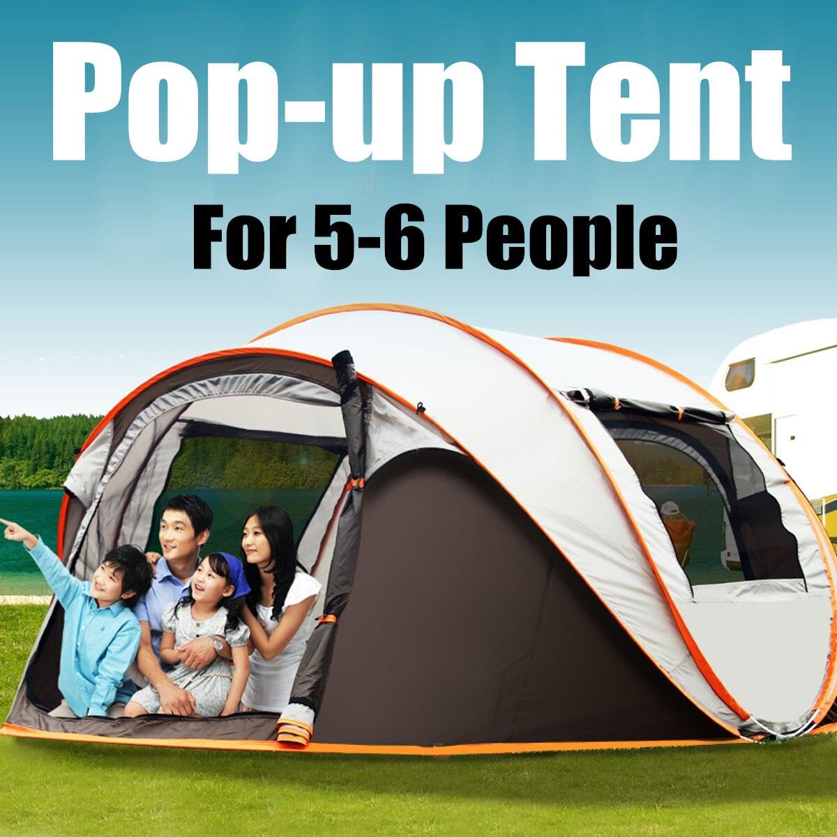 Portable extérieur instantané Auto ouvert tente famille étanche Camping tente pliable sac à dos accessoires de pêche 5-6 personne