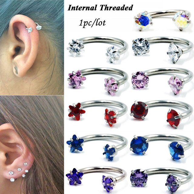 1PC Surgical Steel Internal Thread Barbell  Earring Cartilage Helix Piercing Star Gem Septum Nose Lip Eyebrow Ear Piercing 16G 2
