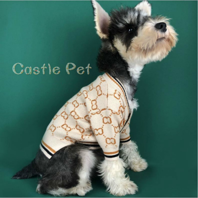Soft Dog Sweater Classic Pet Casual Outfit Costume Fashion Cardigan Sweater Knit Jacket For Schnauzer Bulldog Puppy Clothes