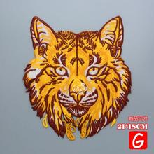 GUGUTREE embroidery big wolf patches animal badges applique for clothing DX-44