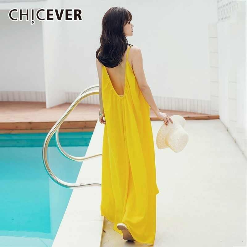 CHICEVER весеннее пляжное стильное сексуальное платье для женщин сзади полый тонкий женский желтый Спагетти ремень платья Женская одежда Новинка