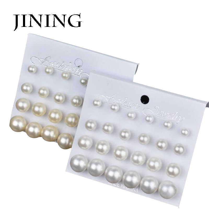 JiNing 12Pairs/Set Simulated Pearl Earrings For Women Jewelry Bijoux Brincos Pendientes Mujer Fashion Stud Earrings