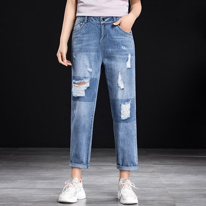 2019 Spring Hole Ripped Jeans Women Harem Pants Casual Boyfriends For Woman Ladies Straight Jeans Loose Ankle-Length Pants