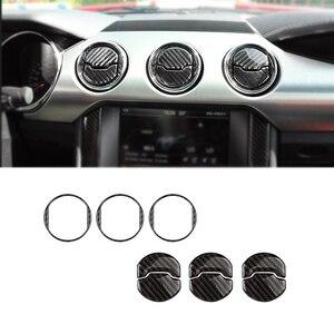 Image 2 - Внутренняя центральная консоль из углеродного волокна для автомобиля Ford Mustang 2015 2016 2017, Крышка вентиляционного отверстия кондиционера