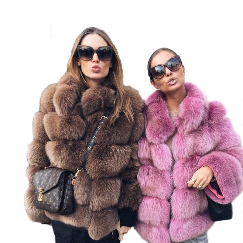 New Faux Fox Fur Coat Women Winter Fashion Stand Collar Artifical Fur Coats Women Warm Overcoat Female Faux Fur Jacket