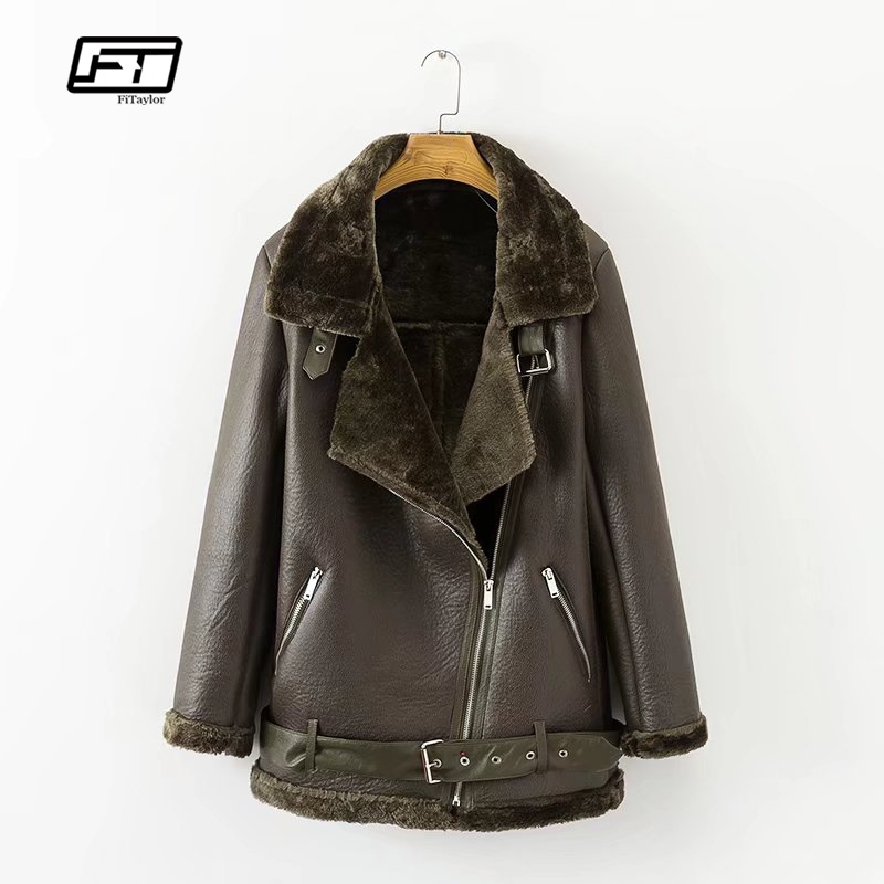 fad7ec1ca1763 Fitaylor Winter Faux Lamb Leather Jacket Women Faux Leather Lambs Wool Fur  Collar Suede Jacket Coats Female Warm Thick Outerwear-in Leather   Suede  from ...