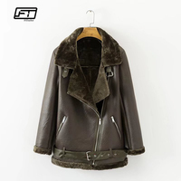 Fitaylor Winter Faux Lamb Leather Jacket Women Faux Leather Lambs Wool Fur Collar Suede Jacket Coats Female Warm Thick Outerwear
