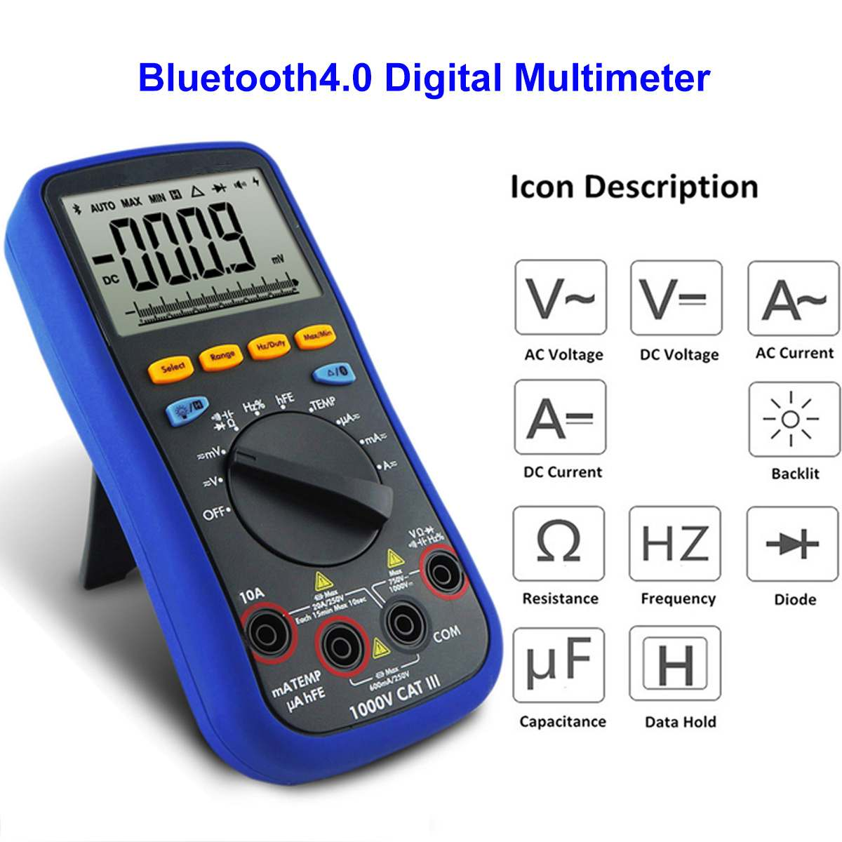 Tester bluetooth Lcd Digital Multimeter 4.0 Test Lead K-type Thermocouple 6000 Count Backlight Real 10m Ohms Digital MultimeterTester bluetooth Lcd Digital Multimeter 4.0 Test Lead K-type Thermocouple 6000 Count Backlight Real 10m Ohms Digital Multimeter