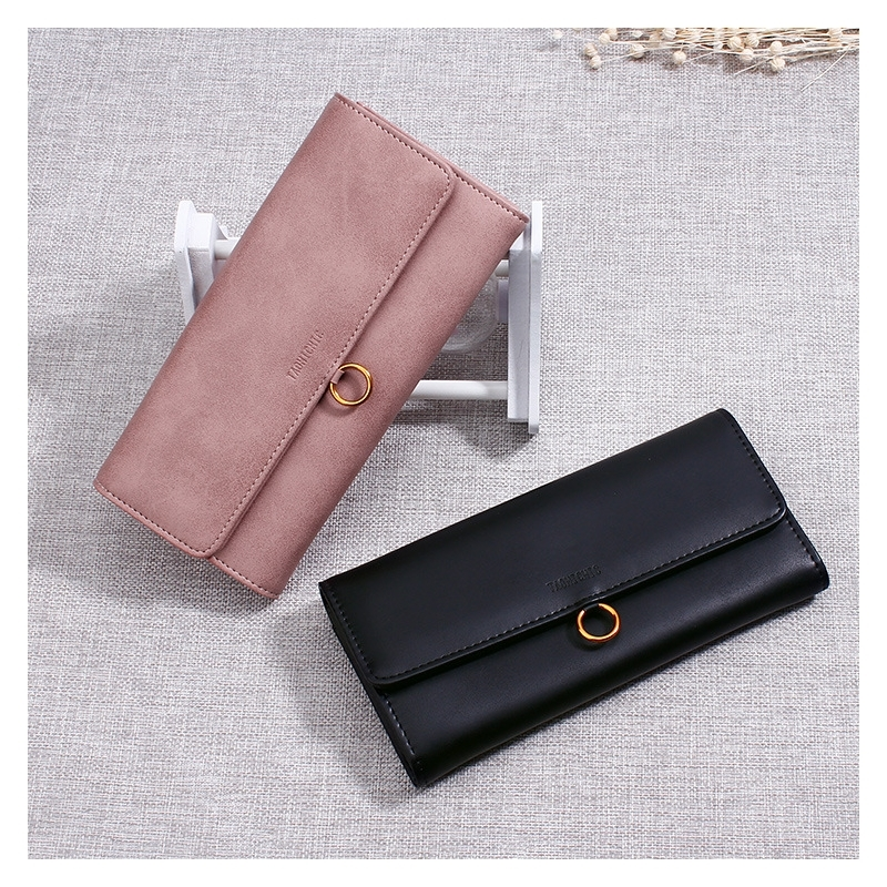 Womens Wallet Flip Long Hanging Ring Casual Ladies Explosion Models Fashion Leather Clutch Bag