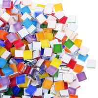 100g/lot Square Clear Glass Mosaic Tiles for DIY Crafts Mosaic Making Children Puzzle Art Craft Tool Kids Transparent