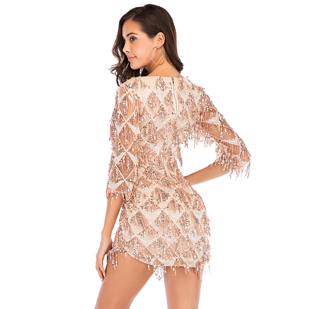 MUXU fashion sexy gold sequin patchwork dress kleider sukienka party dress  clothes vestidos short fringe dress bodycon glitter adfcba1cd6fd