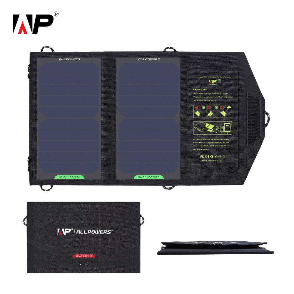 ALLPOWERS 5V 10W Folding Solar Charger Waterproof Portable Outdoor Sun Power Solar Panel Power Bank Battery USB For Smartphone