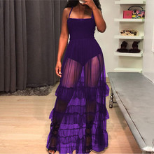 Summer Dresses Sexy Women Perspective Mesh Lace Patchwork Dress Sleeveless Square Collar Elastic High Waist