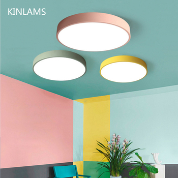 LED Ceiling Light Modern Round 5cm Super Thin lamp Living Room Bedroom Kitchen Surface Mount Flush Panel Remote Control Macaroon