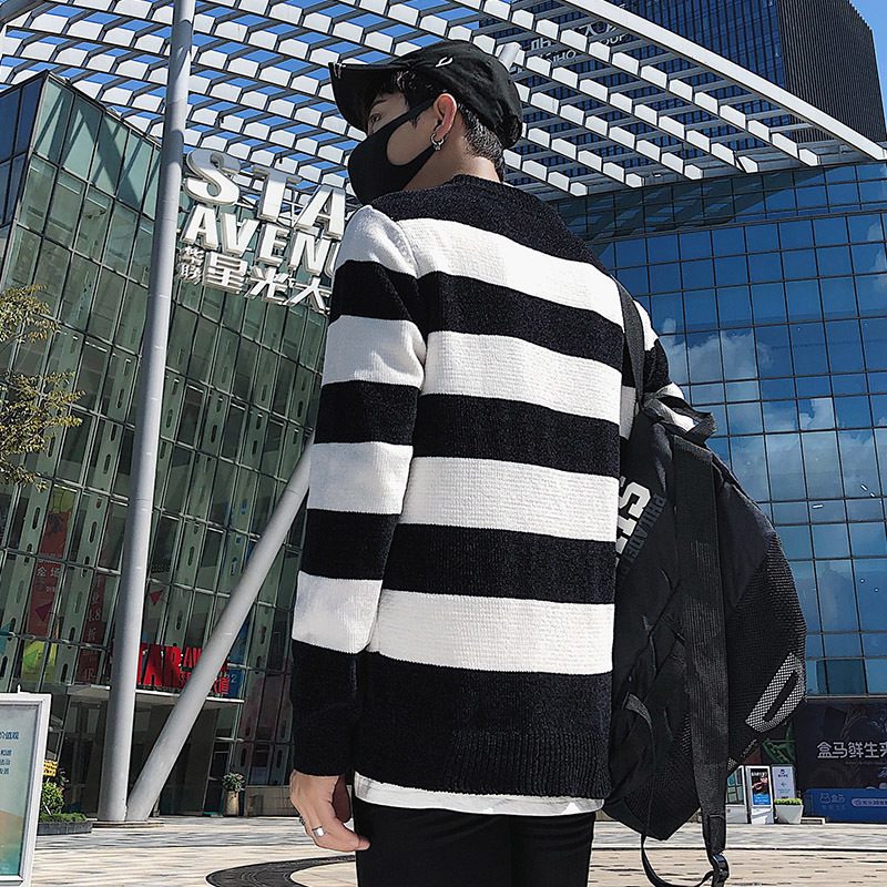 2018 Winter New Casual Stripe Male Round Neck Long Sleeve Sweater dress pullover men Knitting Upper Garment in Cardigans from Men 39 s Clothing