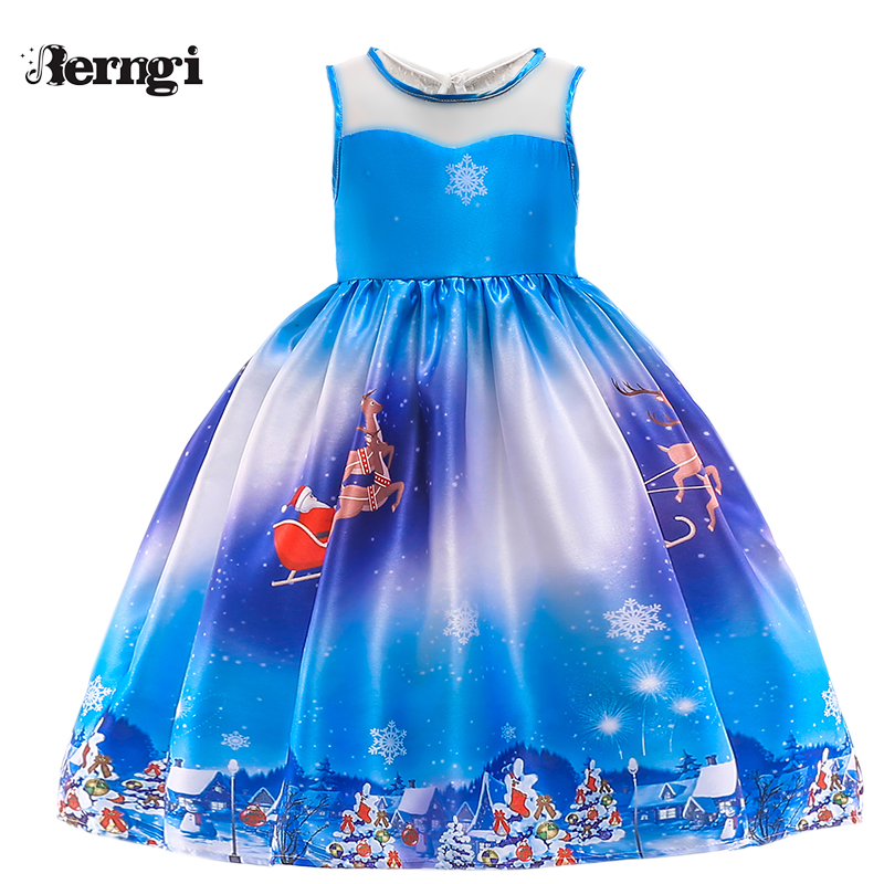 Berngi New Year Girl Christmas Dress For 2-10 Years Girls Winter Snowman Holiday Children Clothing Party Kids Costume new year baby first christmas santa dress for girls winter snowman holiday children clothing christmas party tulle kids costume
