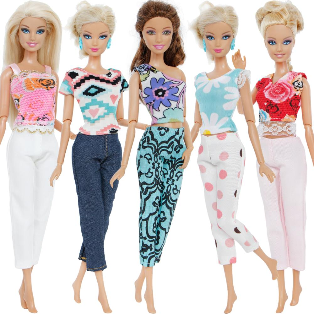 5 Pcs/Lot Handmade Fashion Outfit Mixed Style Colourful Blouse Shirt Vest Trousers Pants Accessories Clothes For Barbie Doll Toy5 Pcs/Lot Handmade Fashion Outfit Mixed Style Colourful Blouse Shirt Vest Trousers Pants Accessories Clothes For Barbie Doll Toy
