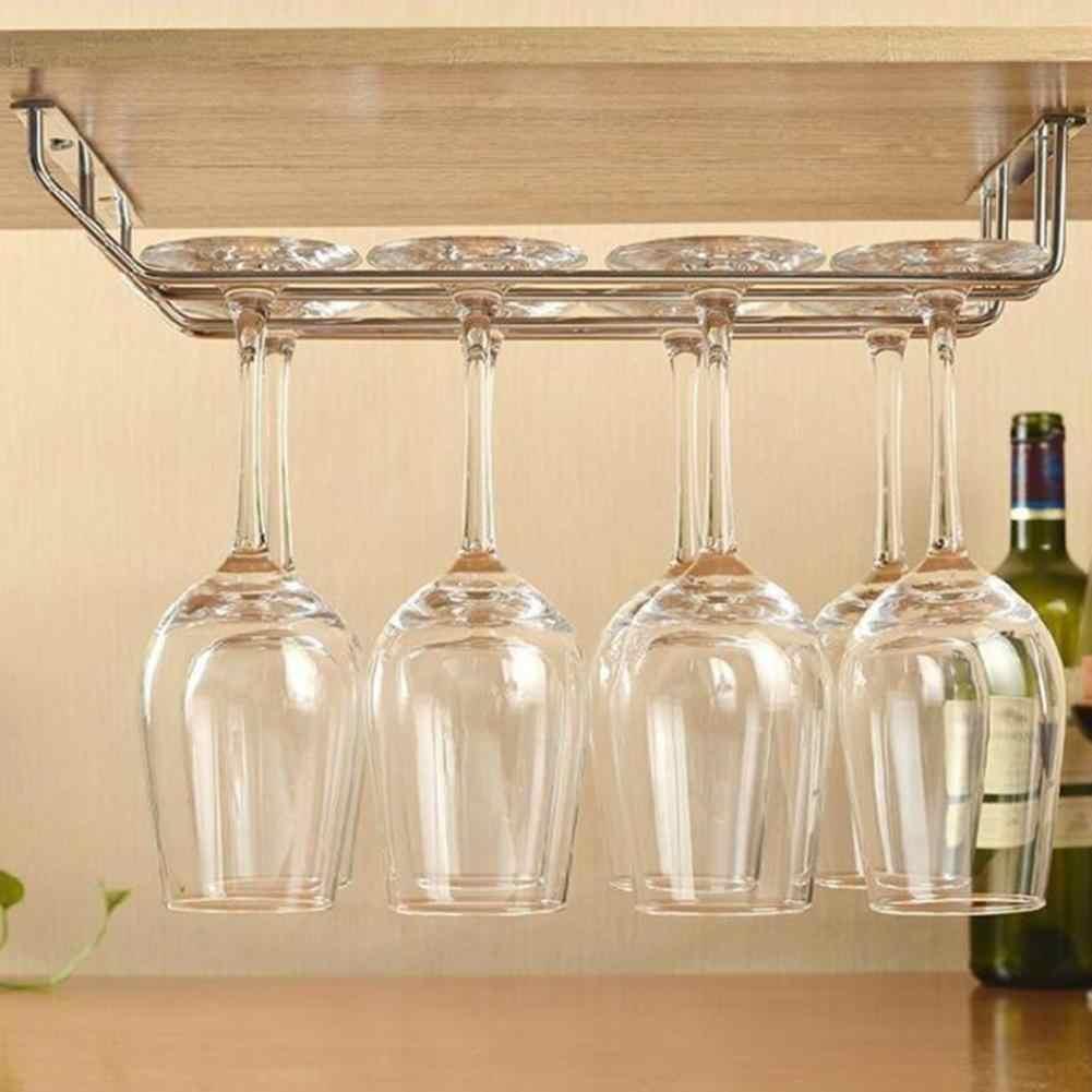 Hot Champagne Stemware Rack Stainless Steel Chrome Plated Anggur Kaca Cangkir Pemegang Dapur Dinding Mount Rak Anggur Bar Gantungan