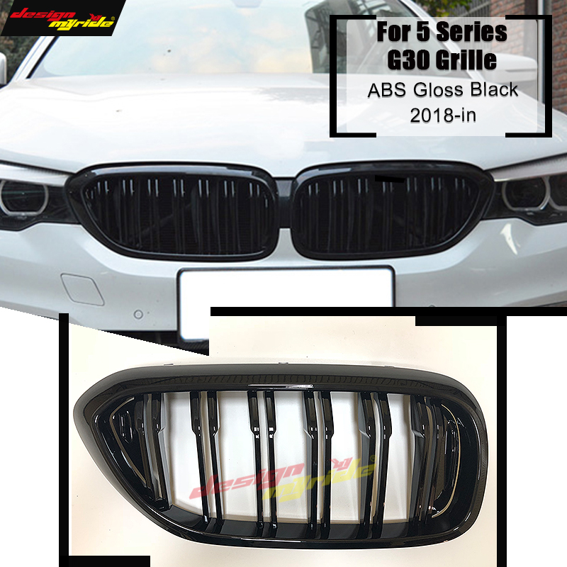 1 Pair <font><b>G30</b></font> 2-slats Front Bumper Grille For <font><b>G30</b></font> <font><b>520i</b></font> 530i 535i 540i ABS Material Gloss Black Front Kidney Grille Decoration 2018+ image