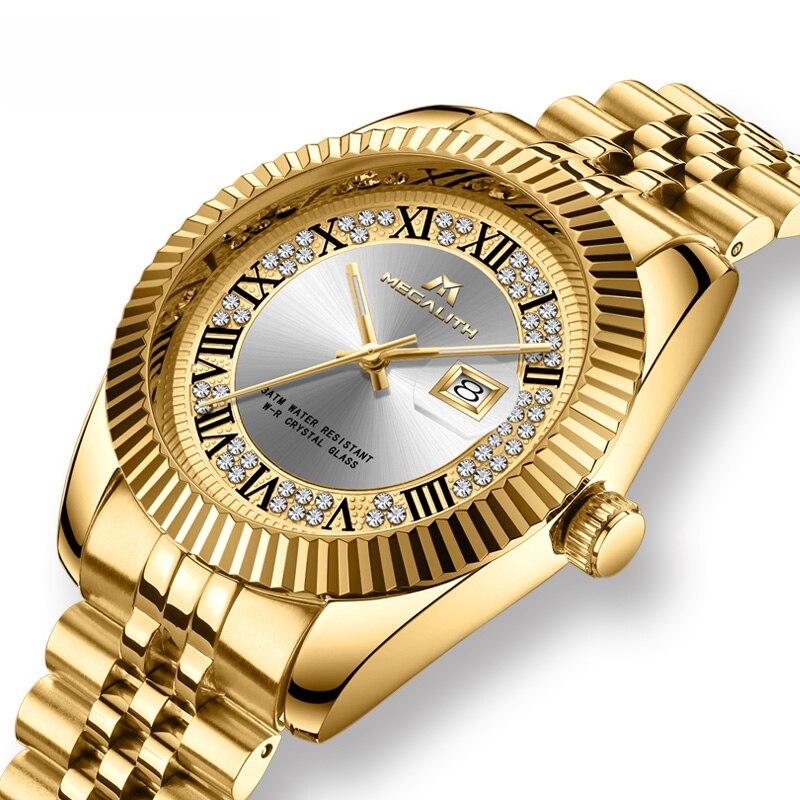 MEGALITH Luxury Brand Watches Men Waterproof Analogue Date Wrist Watch Gold Case Business Quartz Watch Clocks Relogio Masculino