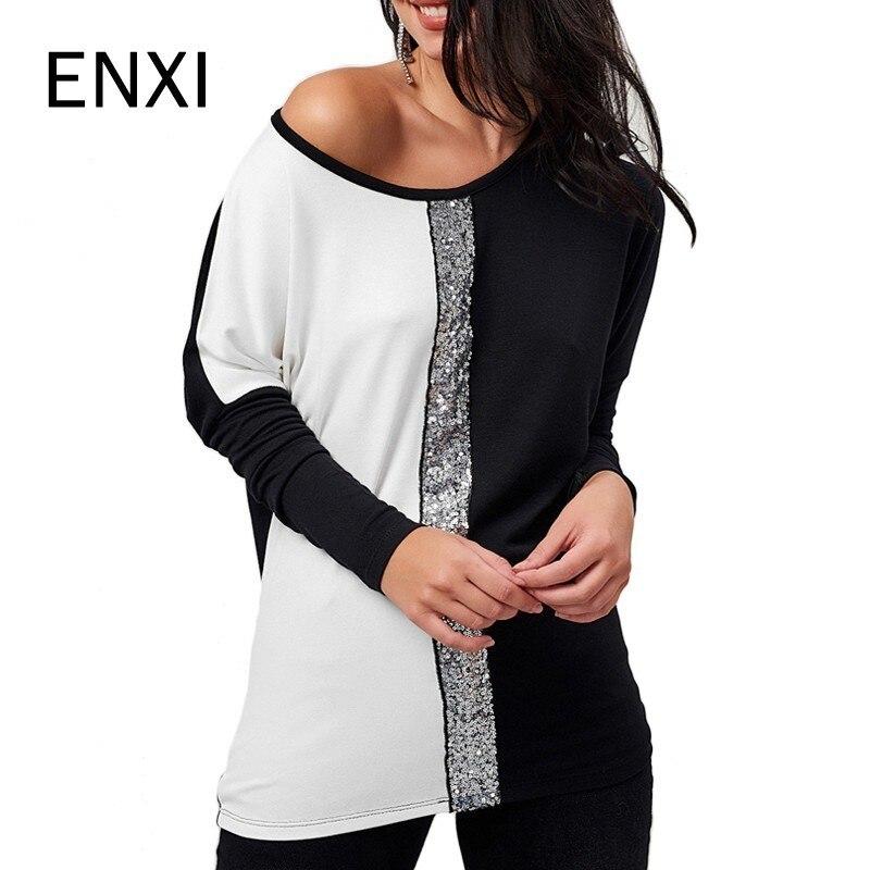 ENXI Fashion Patchwork Autumn Maternity Glisten Top T-shirt Pregnancy Wear Tees Clothes Pregnant Clothing