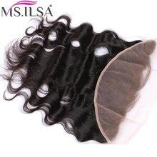 Объемная волна Кружева Фронтальная застежка 13*4 человеческие волосы бразильские Remy 130 Плотность от уха до уха натуральный цвет MS. ILSA