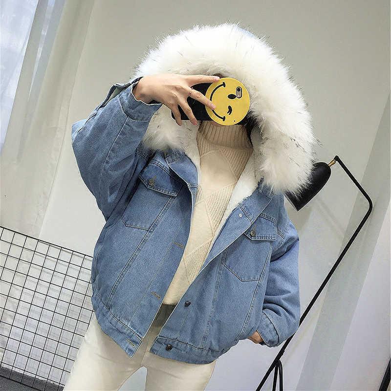 Elexs бархатная Толстая джинсовая куртка женская зимняя большой меховой воротник корейский локомотив мутоновая шуба студентка короткое пальто 72510 25