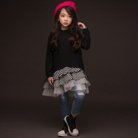 Cotton ruffles kids dresses for girls 10 12 years sweatshirts long sleeves teenage girls princess party dress autumn clothes
