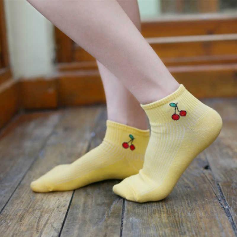 Coton confortable haute qualité coréenne automne filles bateau chaussettes offre spéciale populaire 2018 nouveau printemps 1 paire mignon femmes fruits imprimé