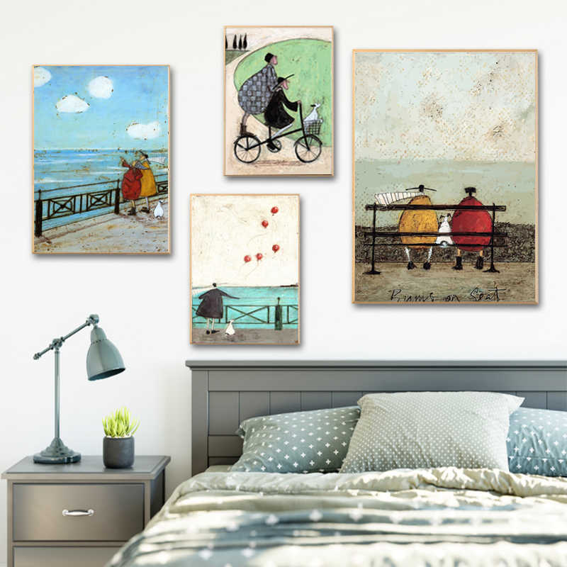 Abstract Happy Family Love Canvas Painting Vintage Posters Prints Scandinavian Nordic Wall Art Pictures for Bedroom Home Decor
